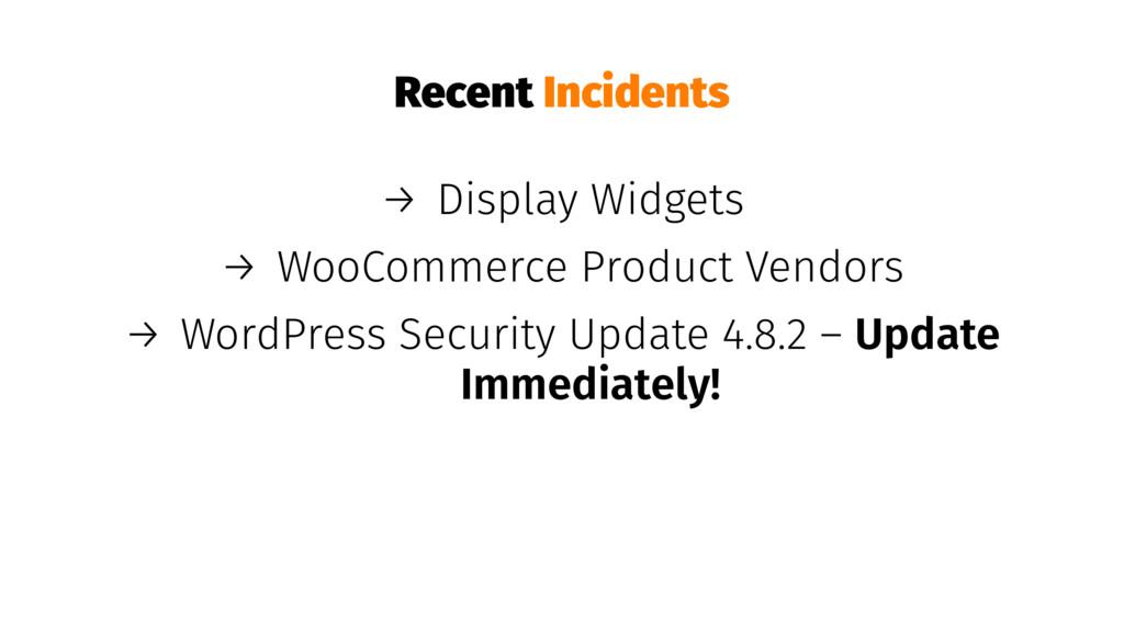 Recent Incidents → Display Widgets → WooCommerc...