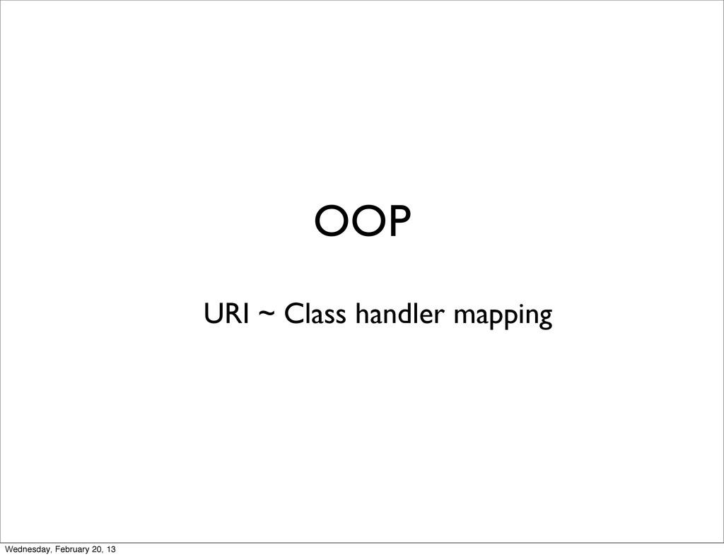 OOP URI ~ Class handler mapping Wednesday, Febr...