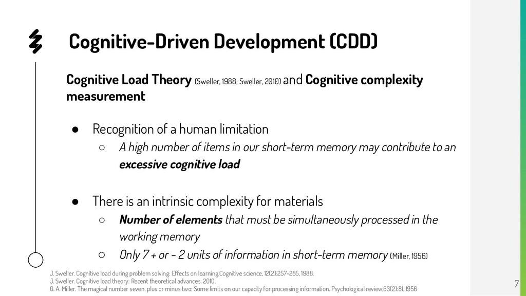 Cognitive-Driven Development (CDD) Cognitive Lo...