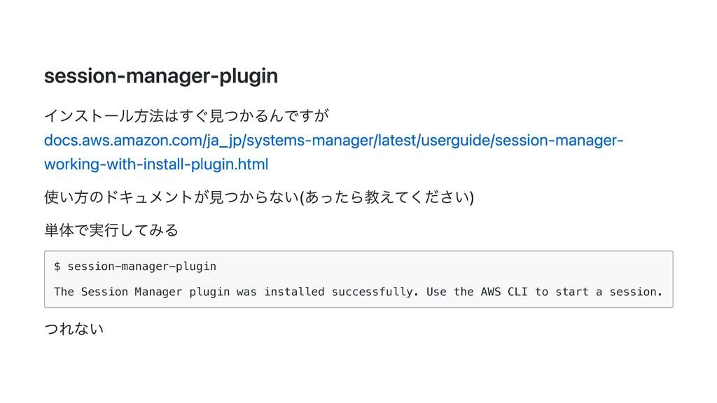 session-manager-plugin インストール⽅法はすぐ⾒つかるんですが docs...