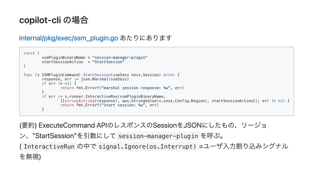 copilot-cli の場合 internal/pkg/exec/ssm_plugin.go...