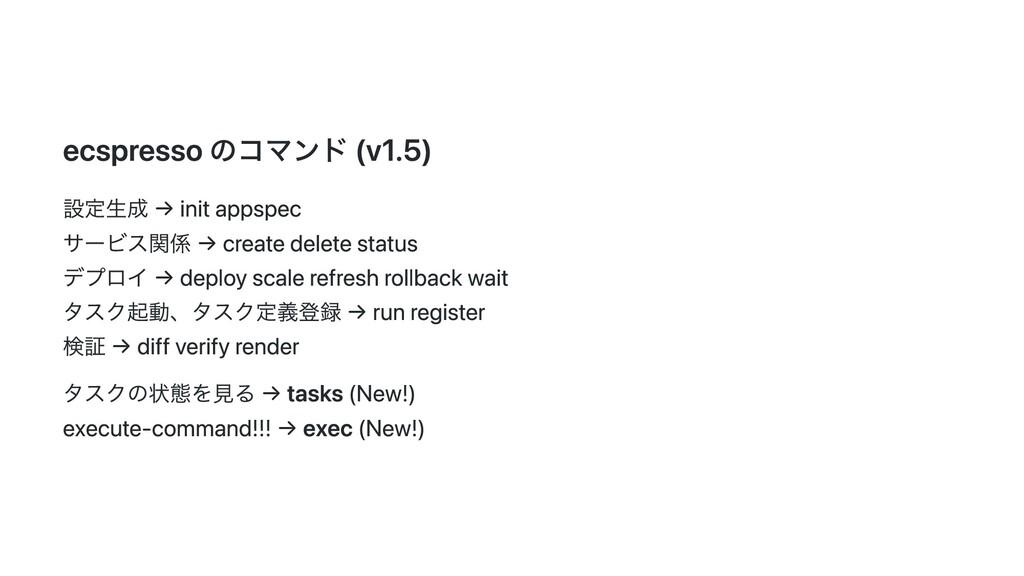 ecspresso のコマンド (v1.5) 設定⽣成 → init appspec サービス...