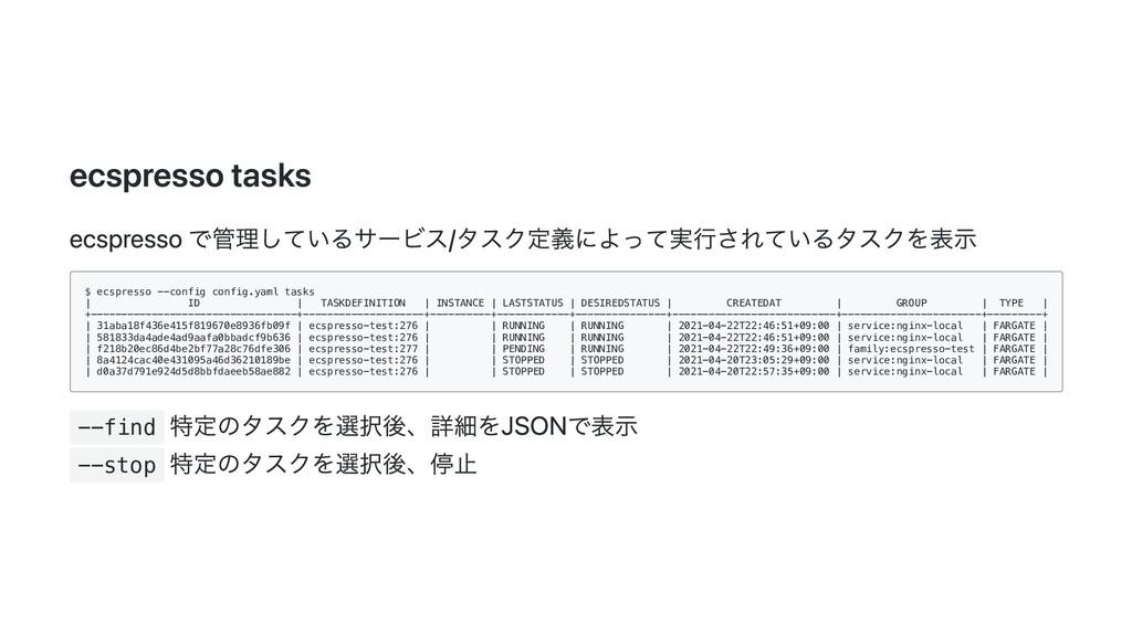 ecspresso tasks ecspresso で管理しているサービス/タスク定義によって...