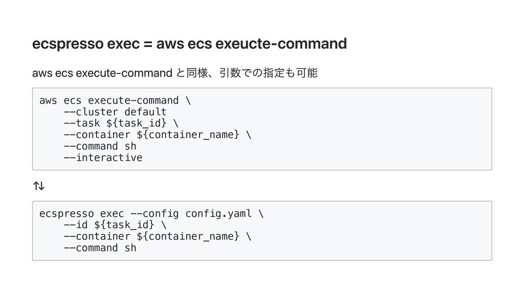 ecspresso exec = aws ecs exeucte-command aws ec...