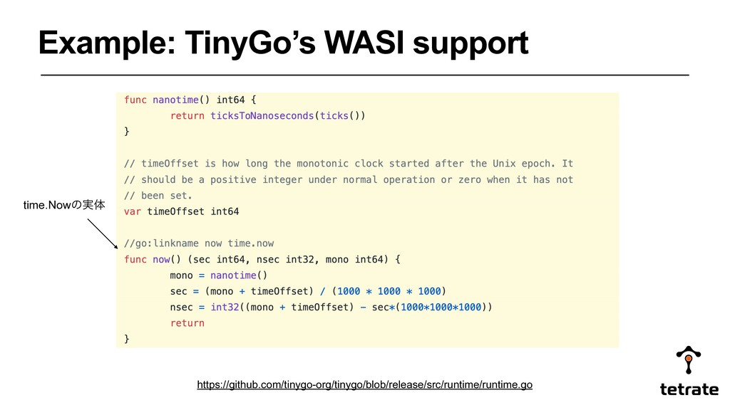 Example: TinyGo's WASI support time.Nowͷ࣮ମ http...