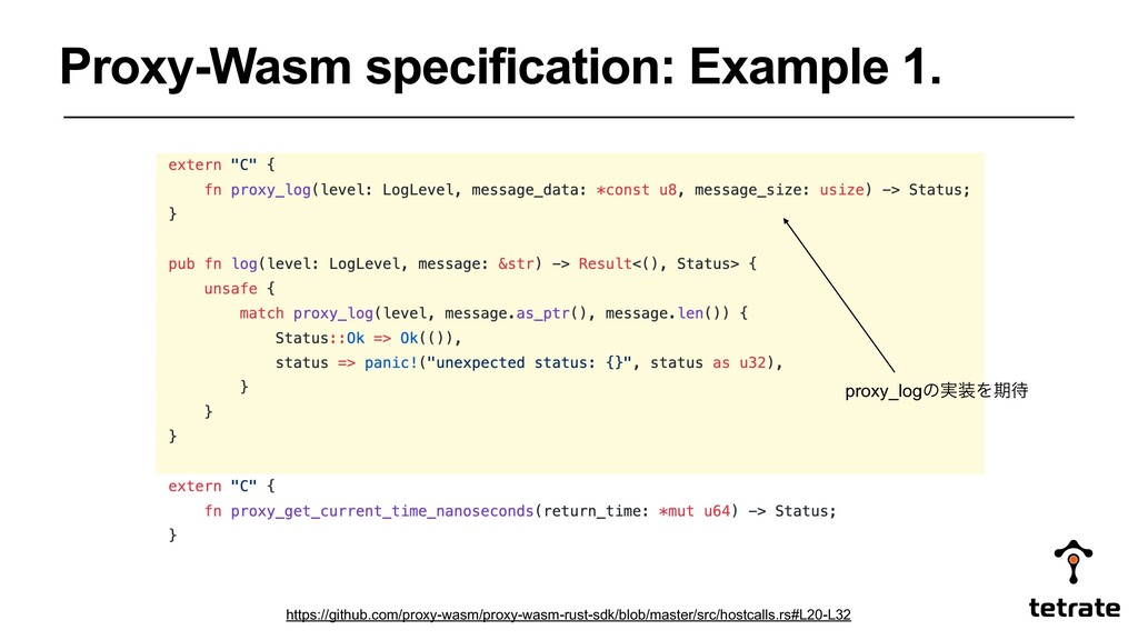 Proxy-Wasm specification: Example 1. proxy_logͷ...