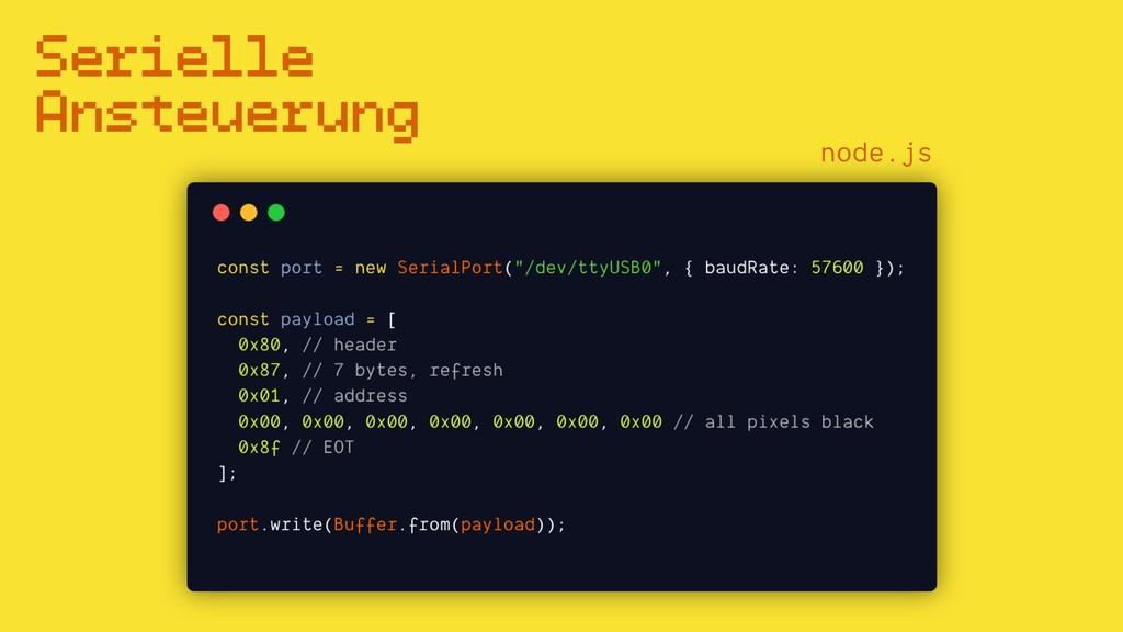 Serielle Ansteuerung node.js