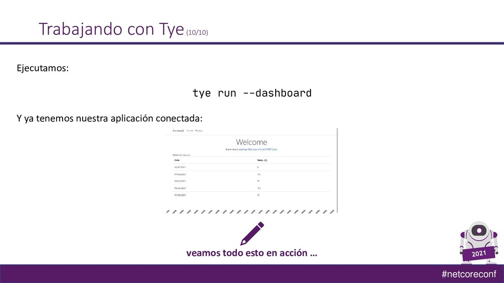 #netcoreconf Trabajando con Tye(10/10) Ejecutam...