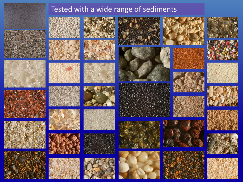 Tested with a wide range of sediments