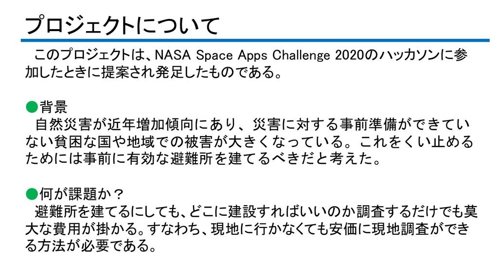 プロジェクトについて このプロジェクトは、NASA Space Apps Challenge ...