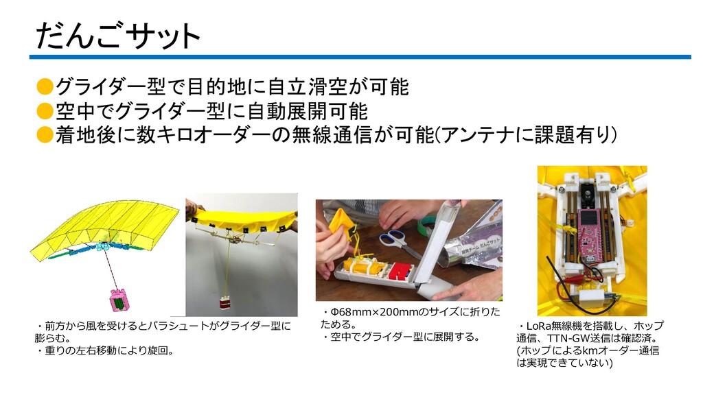 だんごサット ●グライダー型で目的地に自立滑空が可能 ●空中でグライダー型に自動展開可能 ●着...