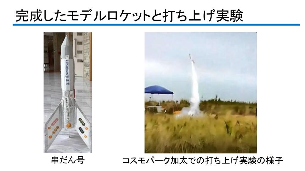 完成したモデルロケットと打ち上げ実験 串だん号 コスモパーク加太での打ち上げ実験の様子