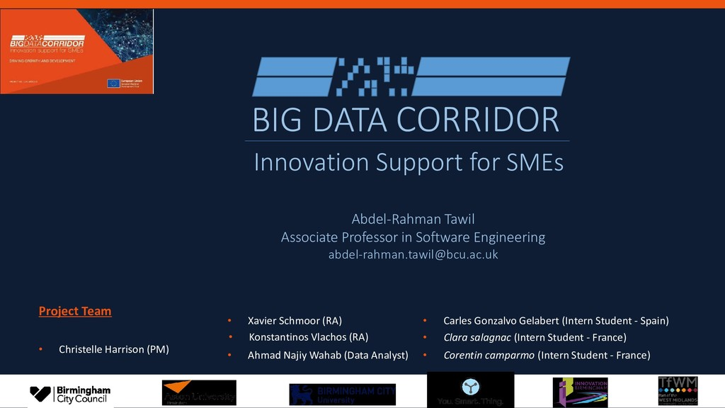 BIG DATA CORRIDOR Innovation Support for SMEs •...