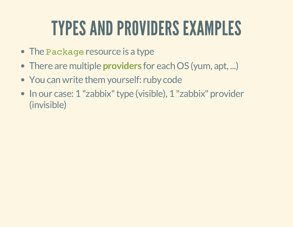 TYPES AND PROVIDERS EXAMPLES The P a c k a g e ...