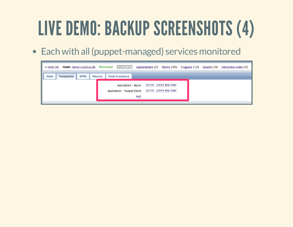 LIVE DEMO: BACKUP SCREENSHOTS (4) Each with all...