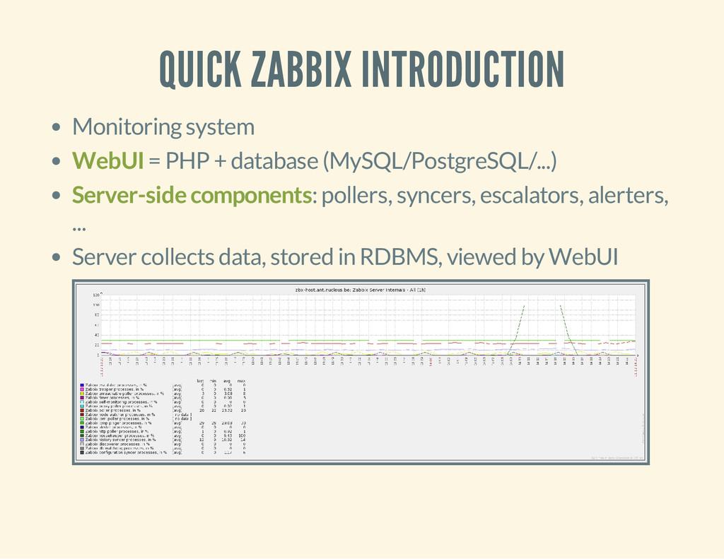 QUICK ZABBIX INTRODUCTION Monitoring system Web...