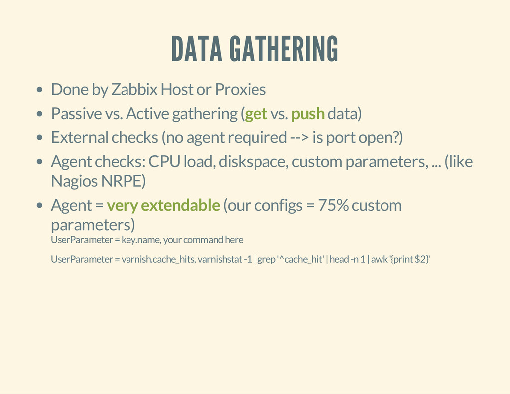 DATA GATHERING Done by Zabbix Host or Proxies P...