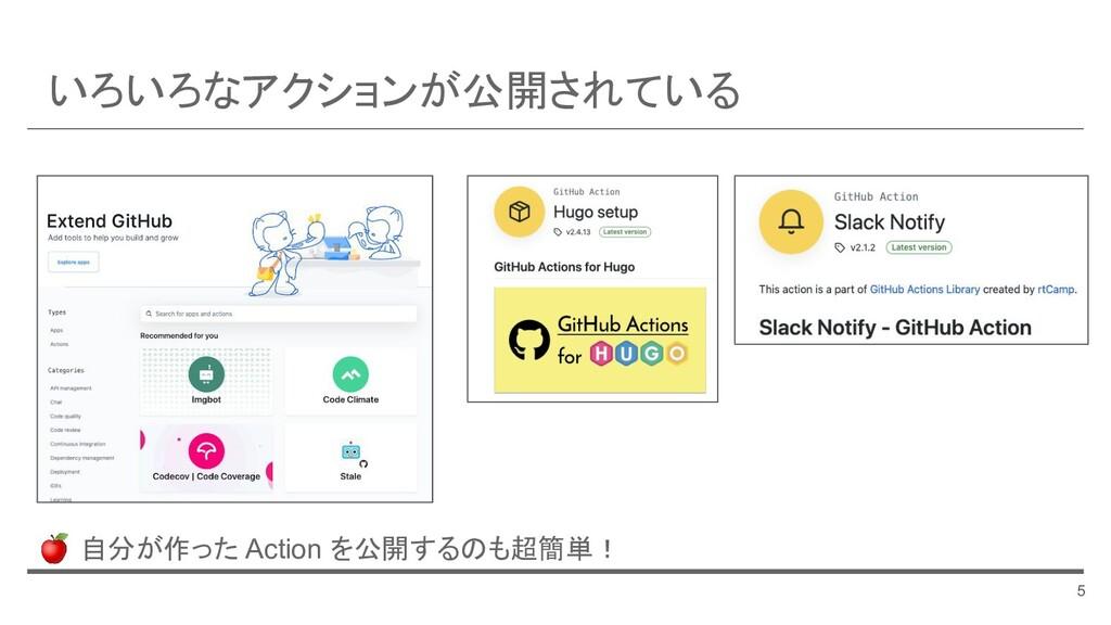 いろいろなアクションが公開されている 5 🍎 自分が作った Action を公開するのも超簡単!