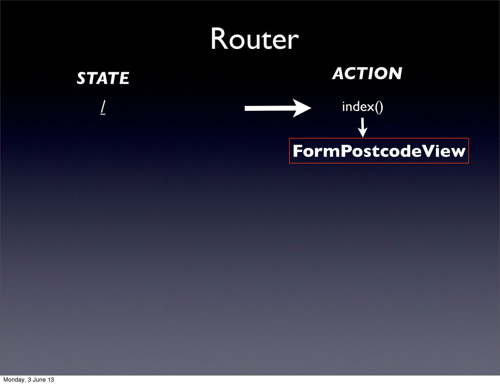 Router / index() FormPostcodeView STATE ACTION ...
