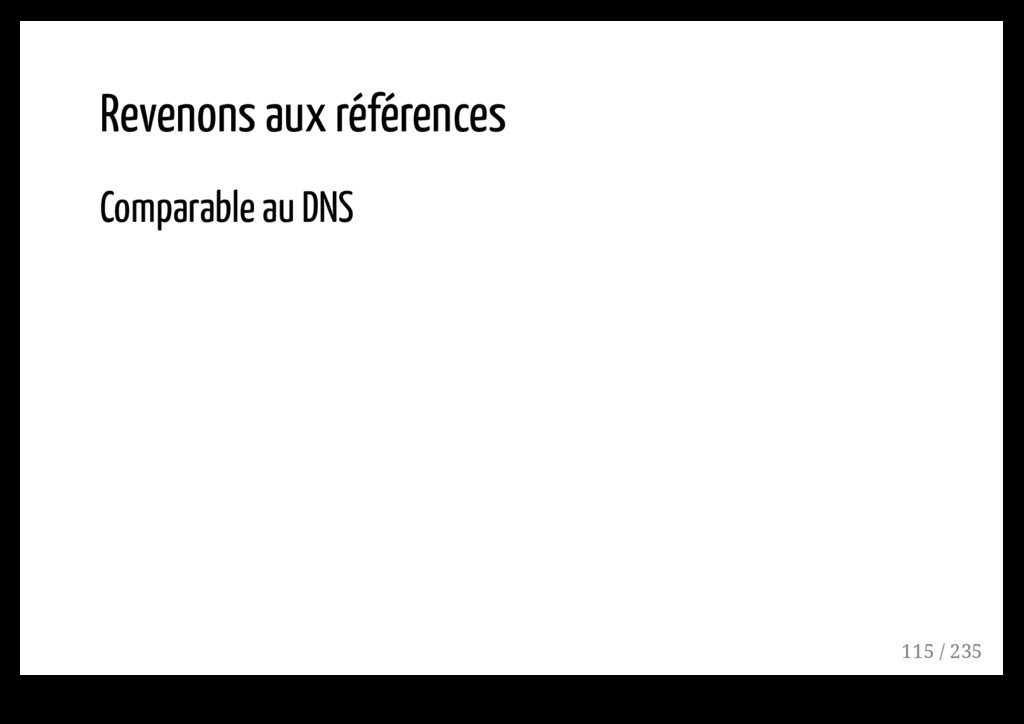 Revenons aux références Comparable au DNS 115 /...