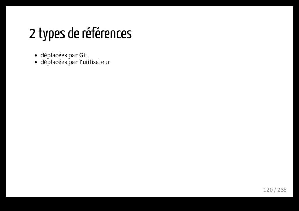 2 types de références déplacées par Git déplacé...
