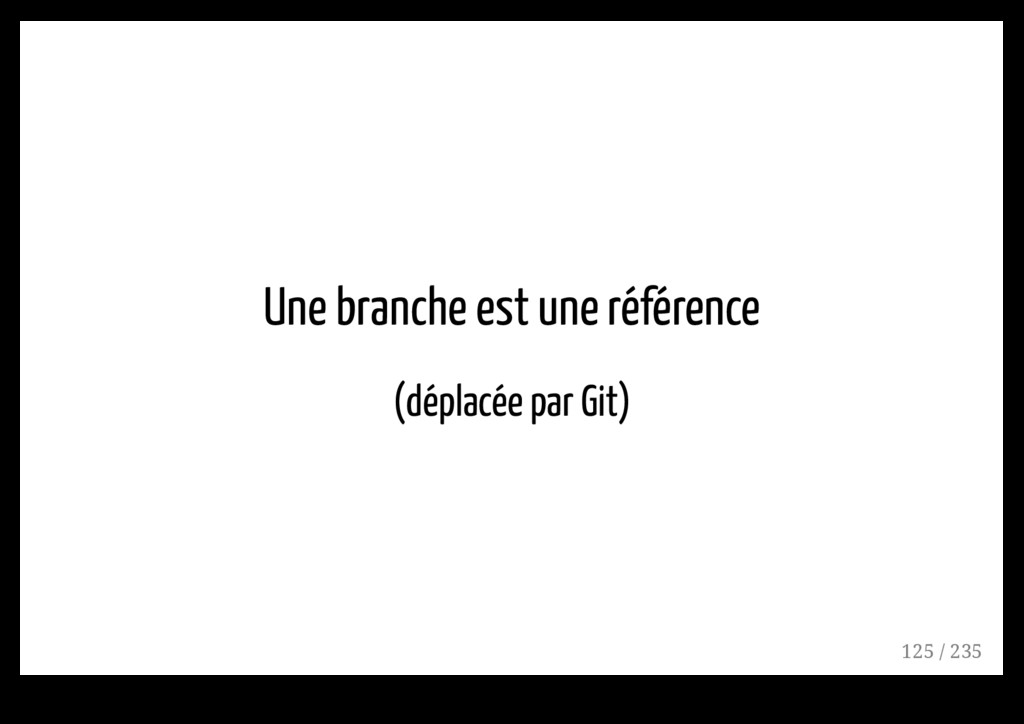 Une branche est une référence (déplacée par Git...