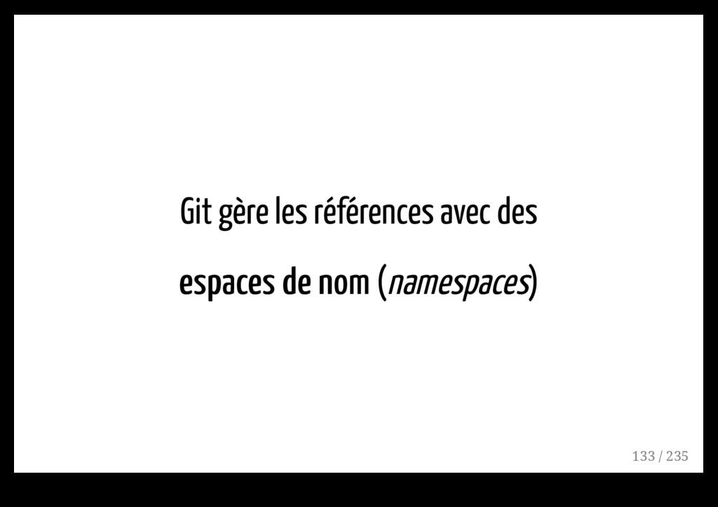 Git gère les références avec des espaces de nom...