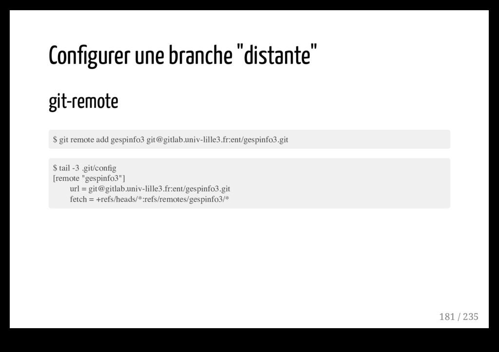 """Configurer une branche """"distante"""" git-remote $ g..."""