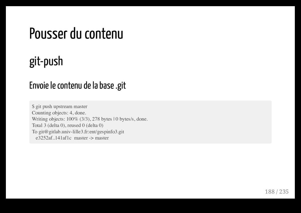 Pousser du contenu git-push Envoie le contenu d...