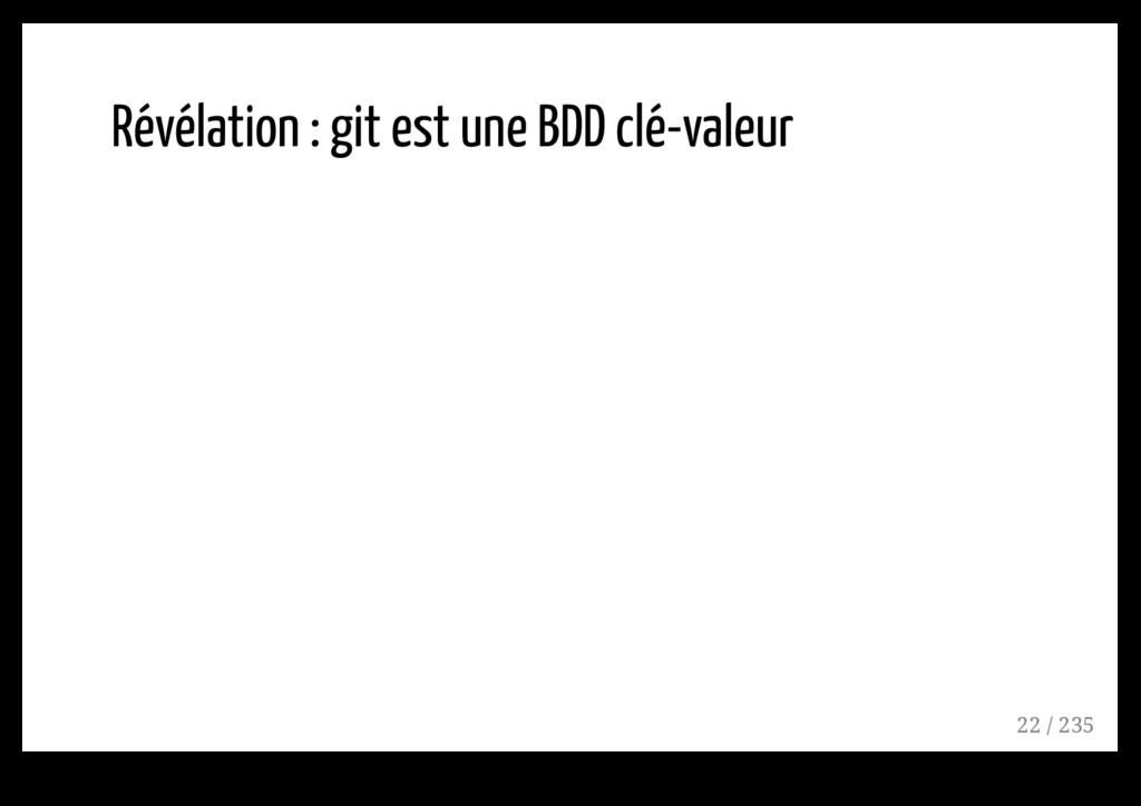 Révélation : git est une BDD clé-valeur 22 / 235