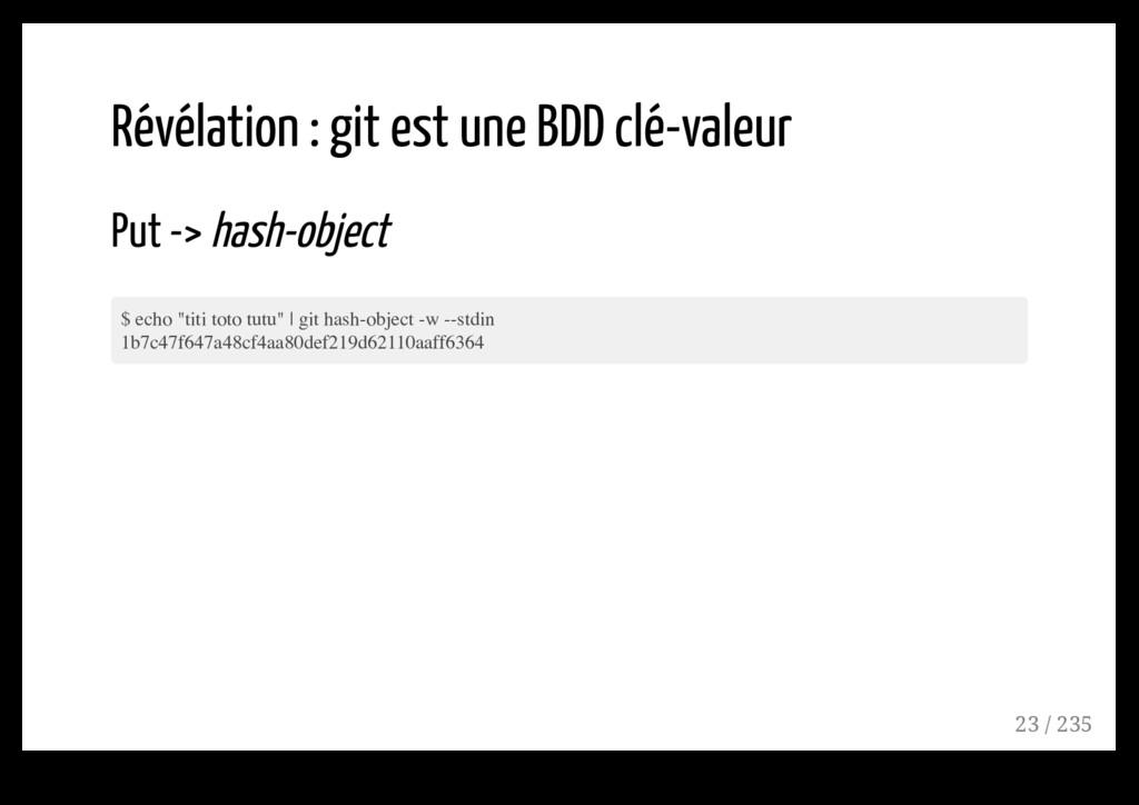 Révélation : git est une BDD clé-valeur Put -> ...