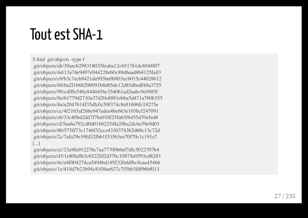 Tout est SHA-1 $ find .git/objects -type f .git/...
