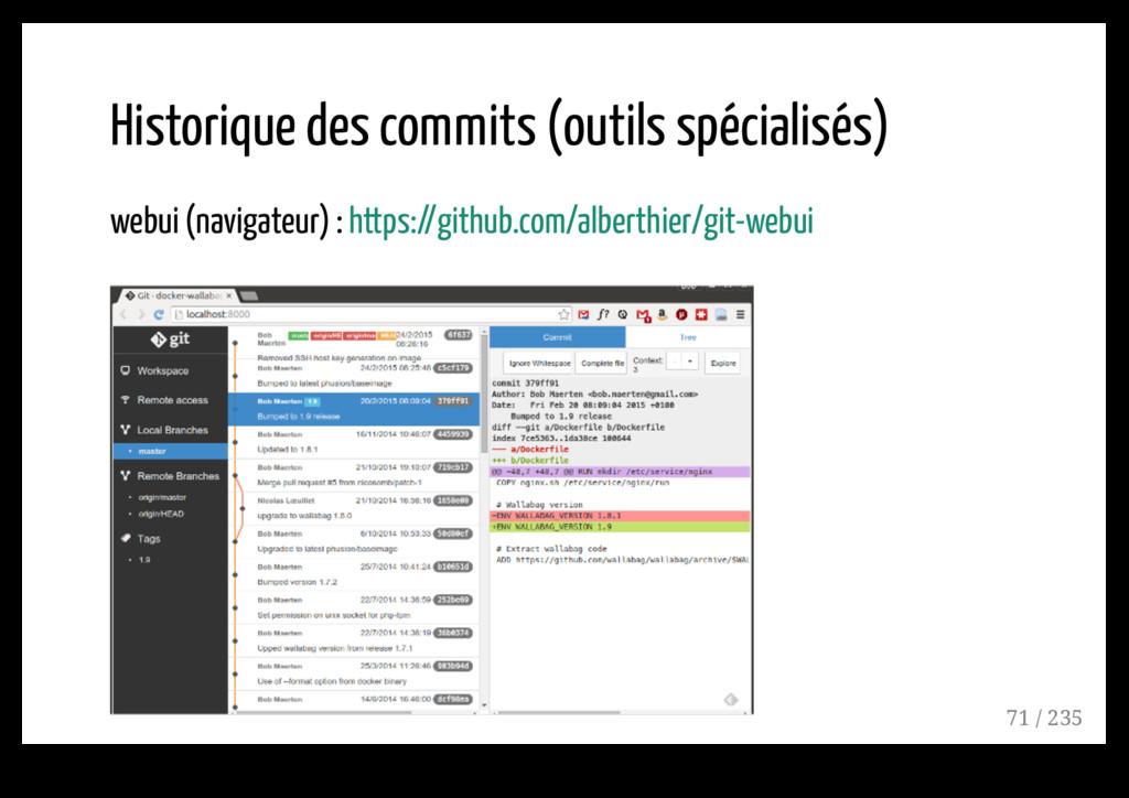 Historique des commits (outils spécialisés) web...