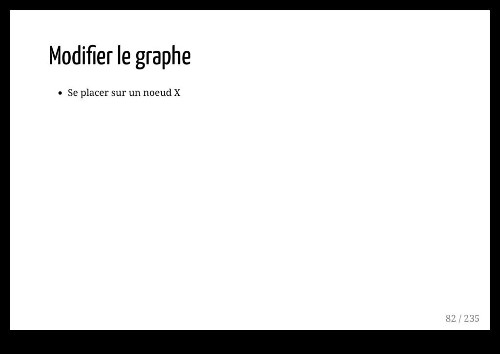 Modifier le graphe Se placer sur un noeud X 82 /...