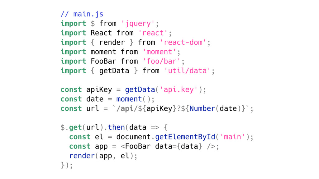 // main.js import $ from 'jquery'; import React...