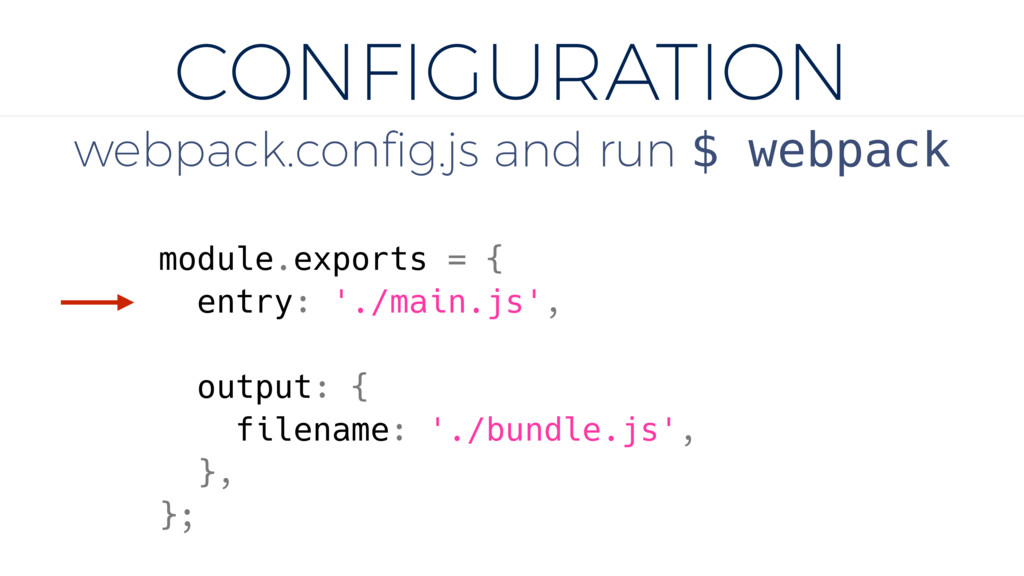 CONFIGURATION webpack.config.js and run $ webpac...