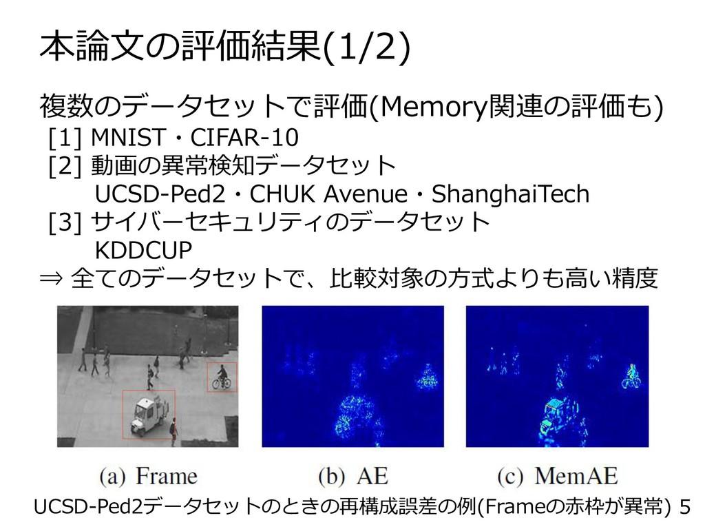本論文の評価結果(1/2) 5 複数のデータセットで評価(Memory関連の評価も) [1] ...