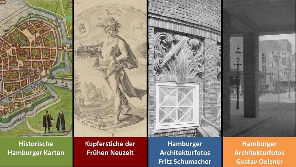 Historische Hamburger Karten Kupferstiche der F...