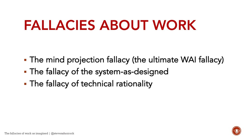 FALLACIES ABOUT WORK § The mind projection fall...