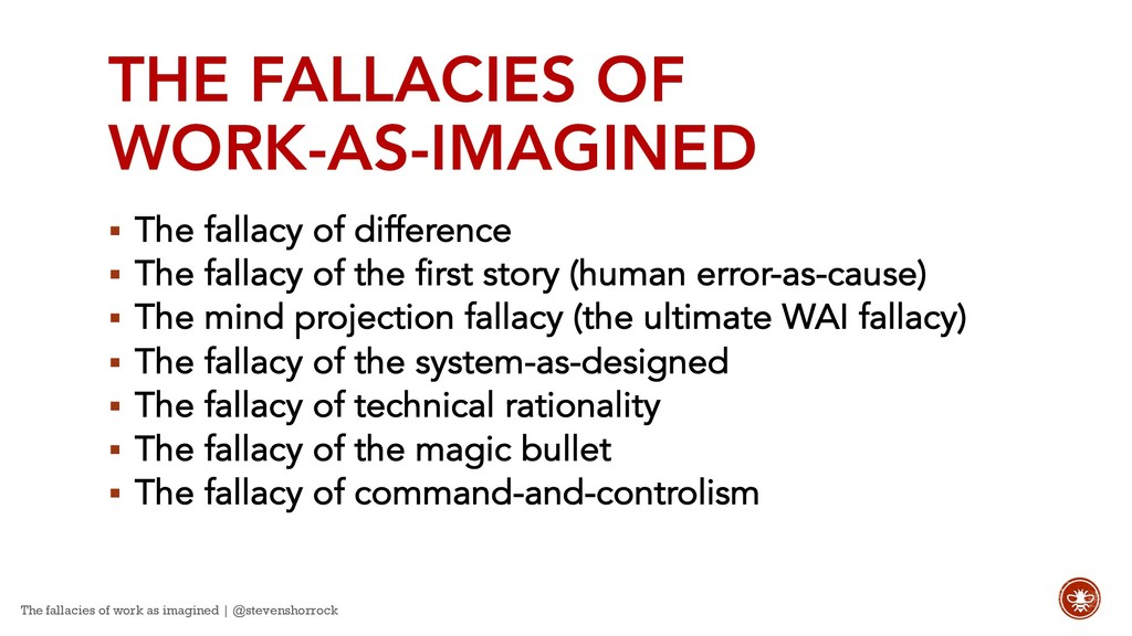 THE FALLACIES OF WORK-AS-IMAGINED § The fallacy...