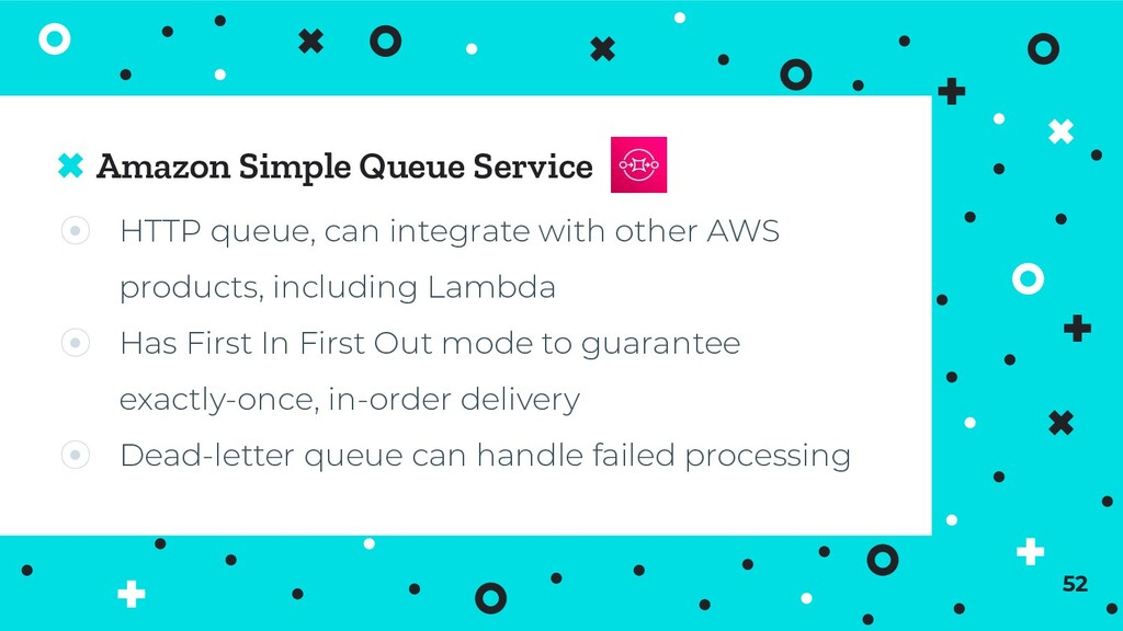 Amazon Simple Queue Service 52 ⦿ HTTP queue, ca...