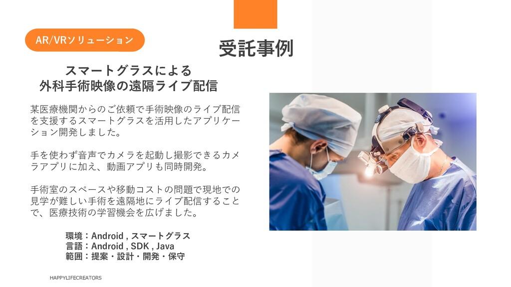 受託事例 HAPPYLIFECREATORS スマートグラスによる 外科手術映像の遠隔ライブ配...