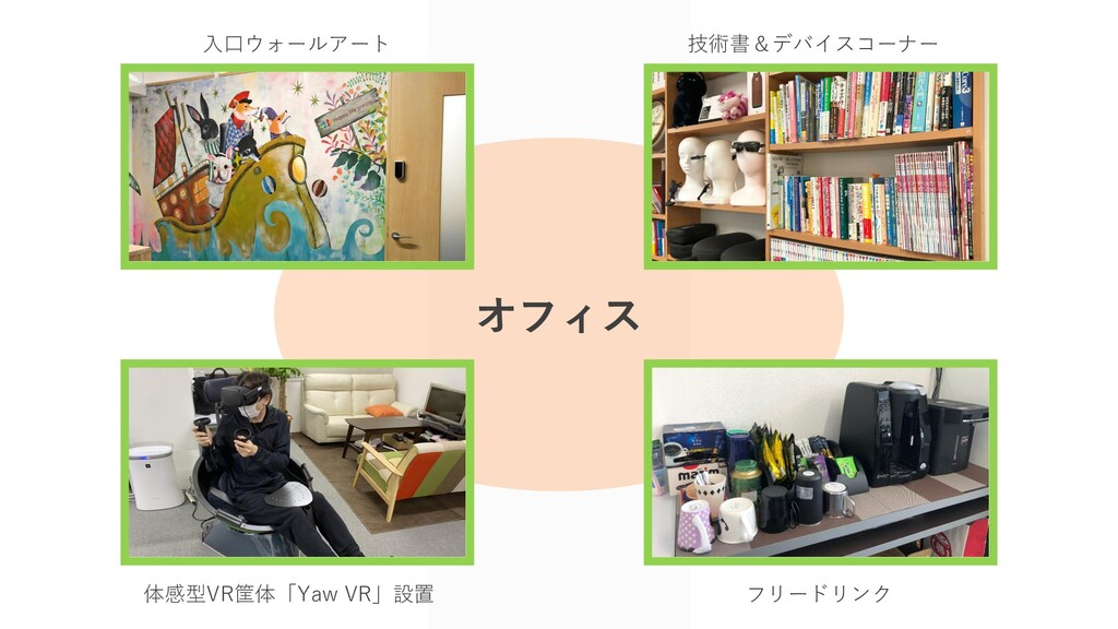 入口ウォールアート 技術書&デバイスコーナー 体感型VR筐体「Yaw VR」設置 フリードリン...