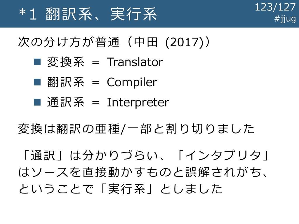 *1 翻訳系、実行系 次の分け方が普通(中田 (2017)) ◼ 変換系 = Translat...