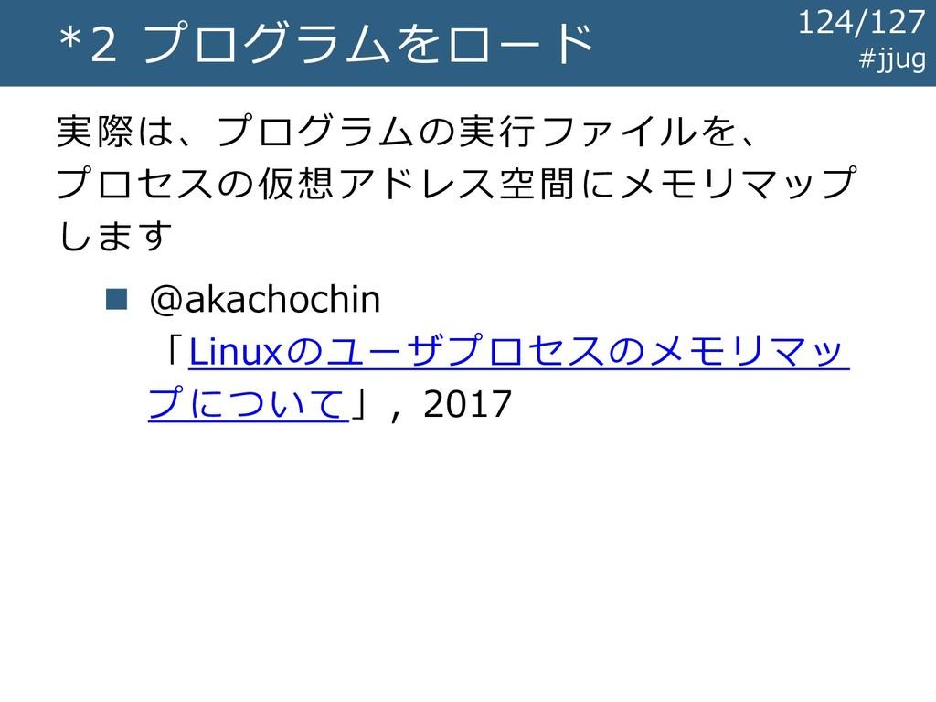 *2 プログラムをロード 実際は、プログラムの実行ファイルを、 プロセスの仮想アドレス空間にメ...