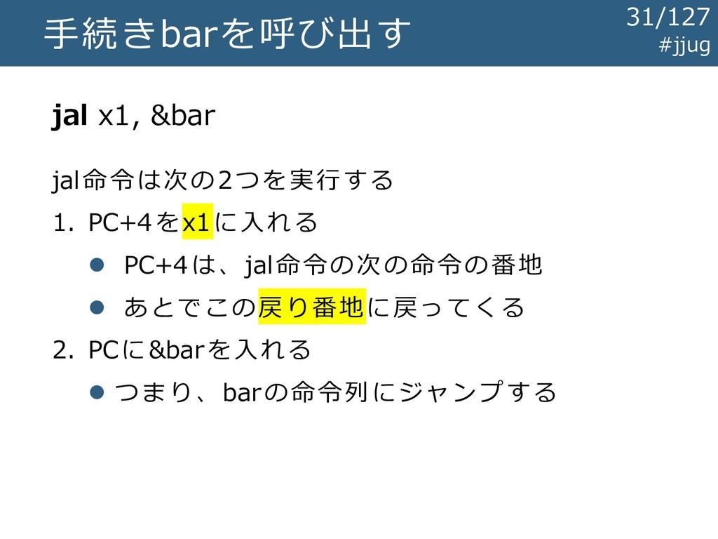 手続きbarを呼び出す jal x1, &bar jal命令は次の2つを実行する 1. PC+...