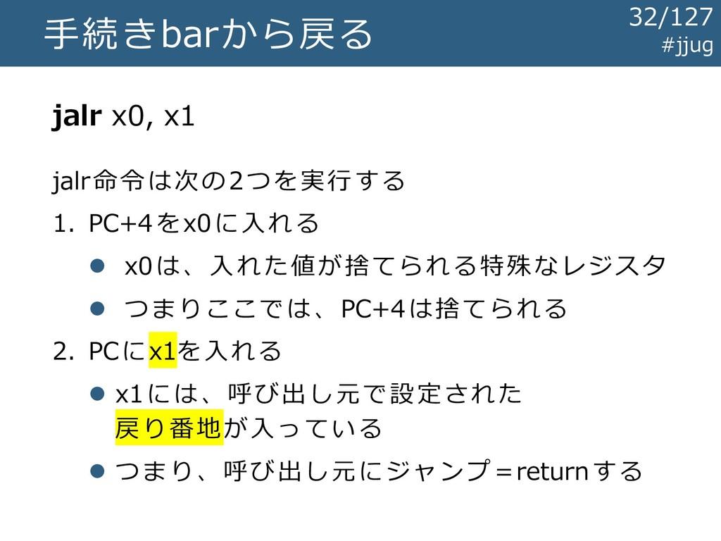 手続きbarから戻る jalr x0, x1 #jjug jalr命令は次の2つを実行する 1...