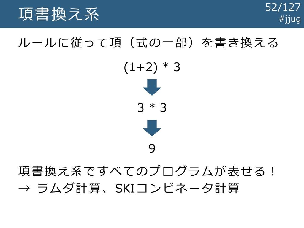 項書換え系 ルールに従って項(式の一部)を書き換える (1+2) * 3 3 * 3 9 項書...