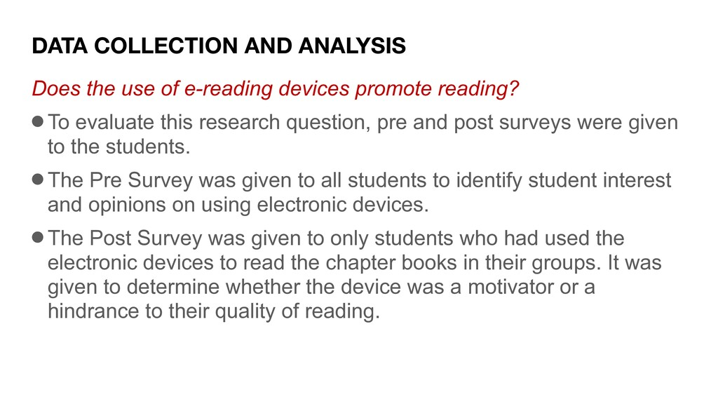 DATA COLLECTION AND ANALYSIS Does the use of e-...