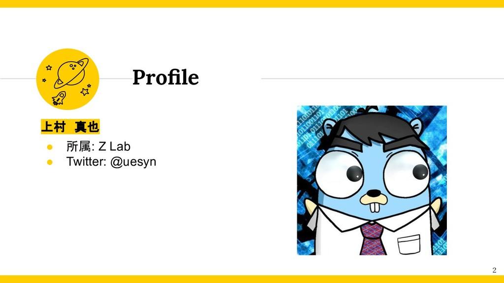 Profile 2 上村 真也 ● 所属: Z Lab ● Twitter: @uesyn